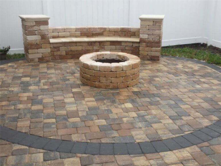 Fire Pit Bench with Back Rest Sand Dune Old Towne Pavers Patio Sierra with Charcoal Border