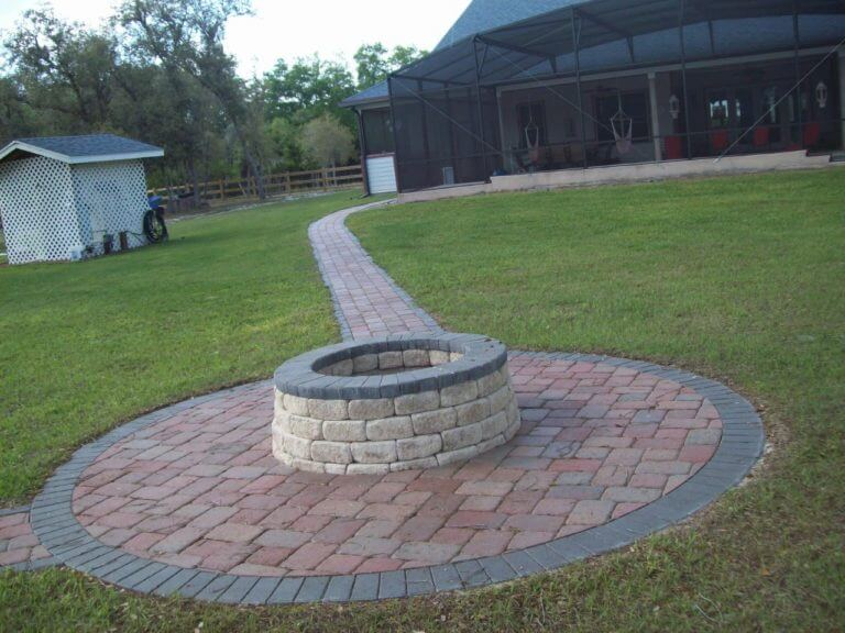 Fire Pit / Walkway / Circular Patio Narcossee Adobe Pavers with Charcoal Border and Fire Pit with Charcoal Caps
