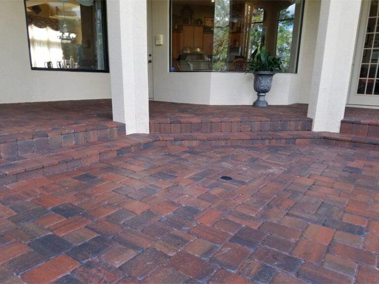 Lanai and Back Patio With Steps Debary Adobe Color Pavers Appian Combo brick pavers