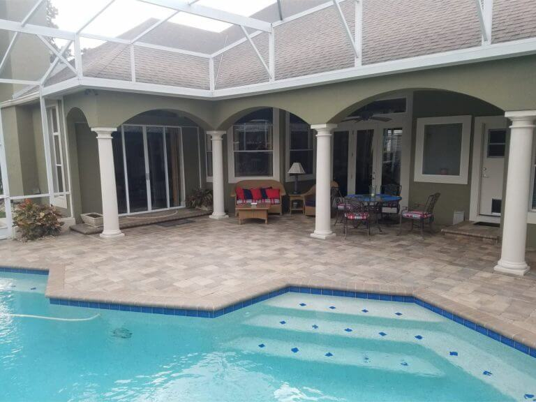 Pool Deck Winter Springs Sierra Old Towne Pavers Cream Color Coping brick pavers
